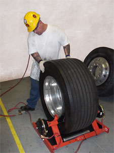 Esco Model 20425 pneumatic truck tire bead breaker can handle all truck tires/wheel sizes 19.5 inches through 24.5 inches.
