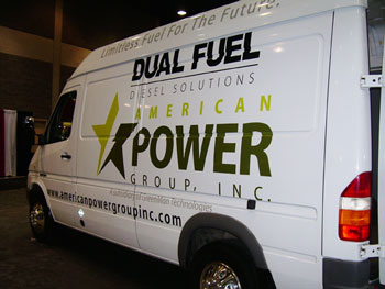 APG is conducting EPA testing of its dual-fuel system on a Sprinter van, nine Class 8 tractors, and a Ford F450 pickup. (Photo by Deborah Lockridge)
