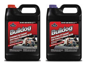 Mack Bulldog Extended Life Coolant is distinguished by its red color, where as the Mack Bulldog Heavy-Duty (HD) PF Coolant has purple on the bottle.