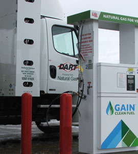 Dart Transit launched a small fleet of CNG-powered tractors dedicated to Andersen Window Corp. While CNG-fueled trucks cost about $45,000 more, Dart projects that fuel cost savings $25,000-$35,000 per year, per truck.