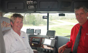 Linda Caffee (right) and her husband Bob sold their home to try expedited trucking. To stay up-to-date with the industry, Linda relies on blogs, social media and networking.