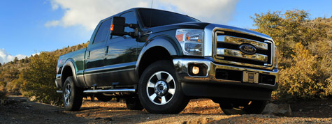 When they go into production this year, Ford's heavy pickup trucks will be available with the optional 6.7-liter Power Stroke diesel and standard 6.2-liter gasoline engine, both V-8s. (Photo courtesy of Ford)