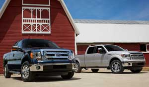 2013 F-150s can be had with conventional headlamps (left) or high-intensity discharge lamps. Four trim levels, including a new Limited model, are available.