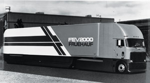 In 1981, the radical aerodynamics of Fruehauf's FEV (fuel-efficient van) 2000 got 7.4 mpg -- 72 percent better than a baseline tractor-trailer.