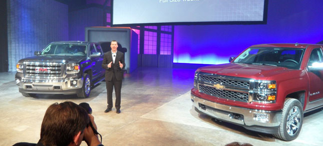 GM's Jeff Luke describes engineering features of the 2014 GMC Sierra 1500 and Chevrolet Silverado 1500 pickups at an unveiling on Thursday.