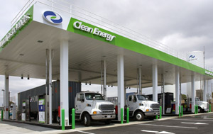 Sterling and Kenworth drayage tractors fill up at a new liquified natural gas station opened by Clean Energy Fuels Corp. adjacent to the Ports of Los Angeles and Long Beach in southern California.