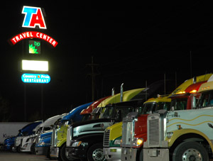 Someday soon, truckstops will be silent, thanks to on-board, engine-off climate control. (Photo by Jim Park)