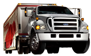 Ford's F-750 conventional, shown here, continues as a product of the Ford-Navistar Blue Diamond joint venture that builds the trucks in Escabedo, Mexico, basically using Ford cabs on International chassis.