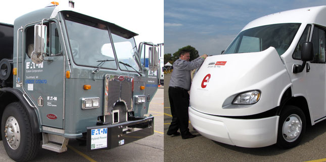 Ride and drive featured a Peterbilt 320 with Eaton's latest Hydraulic Launch Assist system (left), and all-electric walk-in van introduced by FCCC and Morgan Olson, right. (Photos by Tom Berg)