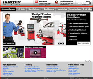 Using Hunter's new site, visitors can more easily navigate through the company's different product offerings, including those for truck and bus.