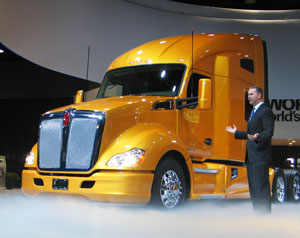 Kenworth's new T680 will come with a 73-inch-long sleeper or a day cab. Paccar's 12.9-liter MX diesel is standard while Cummins' ISX15 is optional.