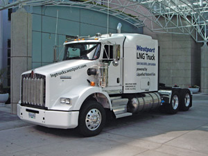 Woodburn says natural gas-powered vehicles, such as this one, make sense for the trucking industry. This Kenworth is equipped with the Westport LNG Fuel System.