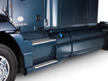 New longer side skirts for Pinnacle tractors weigh less and are lower priced than previous side fairings.