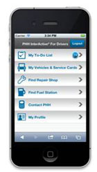 PHH InterActive for Drivers Mobile gives drivers easy access to their vehicle and operator information from touch screen smartphones (including iPhone, Android or Blackberry Touch or PlayBook devices).