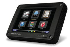 The Rand McNally TND 760, Fleet Edition integrates with a truck's onboard computer and sends and receives information via both Wi-Fi and cellular modes