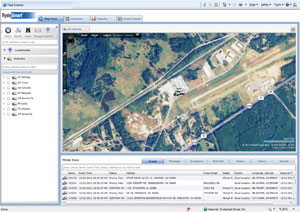 Above is a screen shot of a RydeSmart report view, an aerial satellite map view of a vehicle being tracked with RydeSmart.