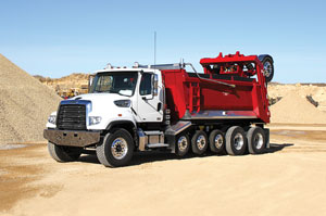 The new Ox SuperDump features four-, six- or seven-axle configurations, increasing payloads up to 25 tons and 80,000 GVWR.