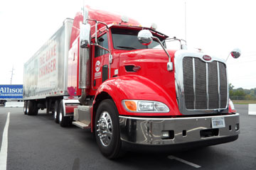 This Peterbilt 384 has a TC10 mated to a 12.9-liter Paccar MX. The transmission shifted smoothly and quickly.
