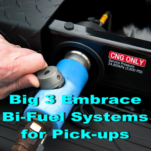 General Motors, Ram Trucks and Ford all announced bi-fuel CNG-gasoline systems for heavy pickups. Photo courtesy of GM