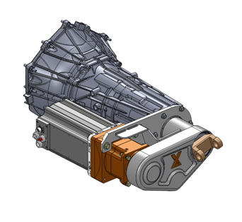 Motor-generator hangs next to the GM transmission, and is connected to a 4-to-1 gearbox. A Kevlar belt inside the housing transfers torque to and from the driveshaft.