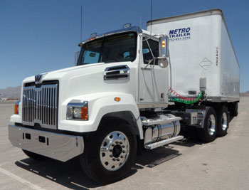 New tractor version of the 4700 series was shown off yesterday at the Las Vegas Speedway. Like previously announced truck models, the tractor comes only as a daycab.