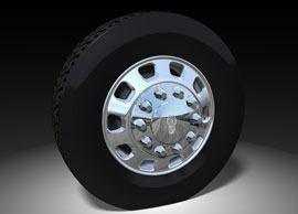 Kenworth's new 10-spoke wheel features an Alcoa Dura-Bright surface treatment, which requires only soap and water to clean.