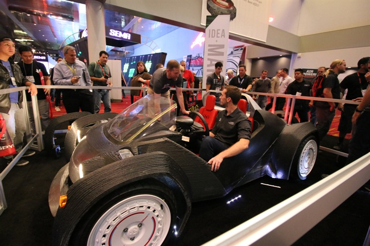 The Strati is a small electric car produced largely via 3D printing.