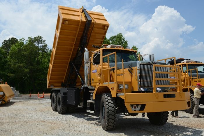 Western Star's 6900XD in dump-box trim. Note the Palfinger hoist