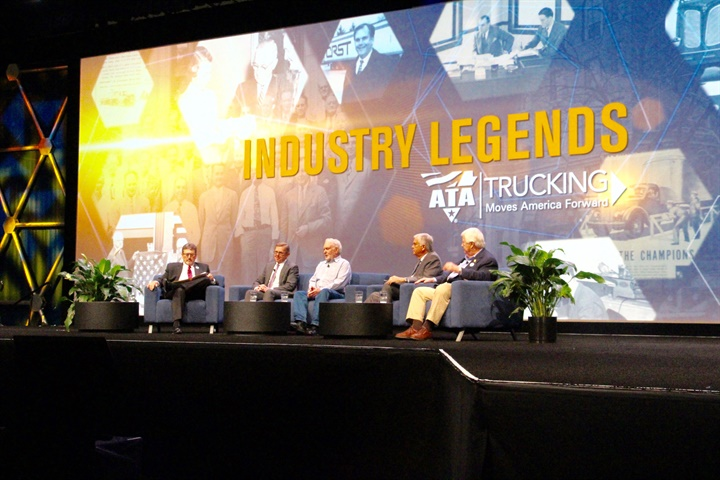 A panel discussion of four  Industry Legends  at ATA MC&E. Photo: