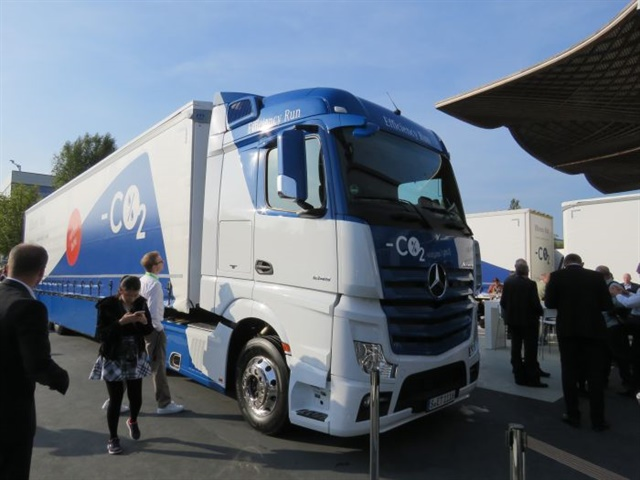 IAA show goers observe the advanced Mercedes-Benz Actros cabover
