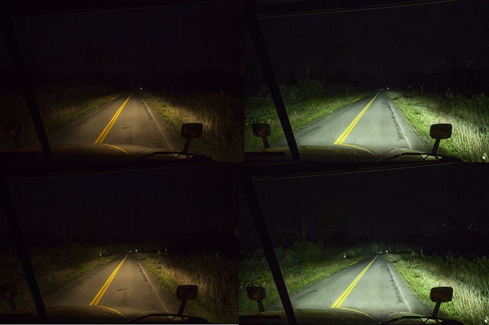 Compare the side-of-the-road lighting between both sets of lights on