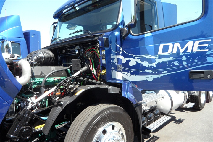 This DME engine is based on a Volvo D13 diesel. This prototype has