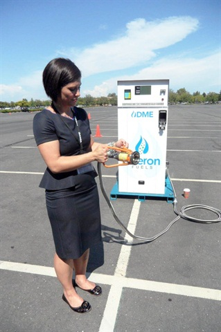 Rebecca Boudreaux, president of Oberon Fuels, shows a