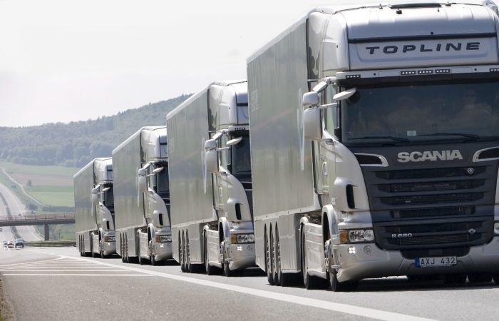 Platooning uses connected-vehicle technologies to allow trucks to