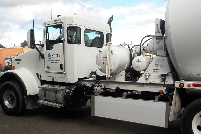 The side-impact guard closes the gap ahead of Kenworth mixer
