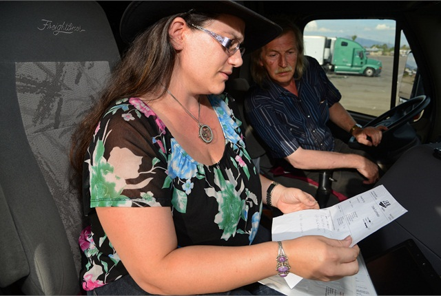 Amanda handled the paperwork for years before she got her CDL. Photo courtesy Drivewyze