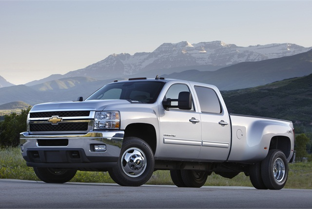 GM:GM's Chevrolet Silverado and GMC Sierra get into medium-duty with the 3500 HD. The Class 3 model will soon get fresh styling and interior designs applied to the 1500 pickups earlier this year. As before, the 3500 HD is available in three cab styles, with two Vortec gasoline V-8 engines mated to a Hydra-matic 6L90 six-speed automatic, or the optional Duramax V-8 diesel with an Allison 1000 six-speed.
