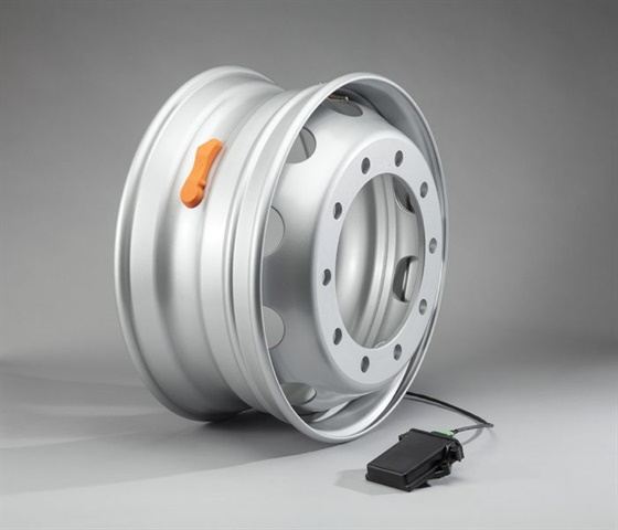 Next year, Maxion Wheels plans to launch its MaxSmart internal wheel sensors, which can wirelessly relay a host of tire and load information to both drivers and fleet managers. Photo: Maxion Wheels