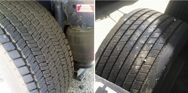 These tires are on one of Ploger's 6x2 tractors. Both have about 70,000 miles on them. The tire on the left is a drive tire, with shoulder grooves at 23/32 and center grooves at 25/32 (27/32 when new). The tire on the right is on the lift axle. All grooves are at 17/32 (when new).