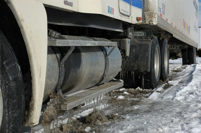 Hard-packed snow can be nearly impossible to escape from if warm tires have melted their way down even an inch or so. The load transfer systems on today's 6x2 axles place more weight on the driving axle to improve traction.