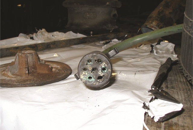 Corroded 7-pin connector is obvious, but salt-induced corrosion can also wick into wiring under its insulation.