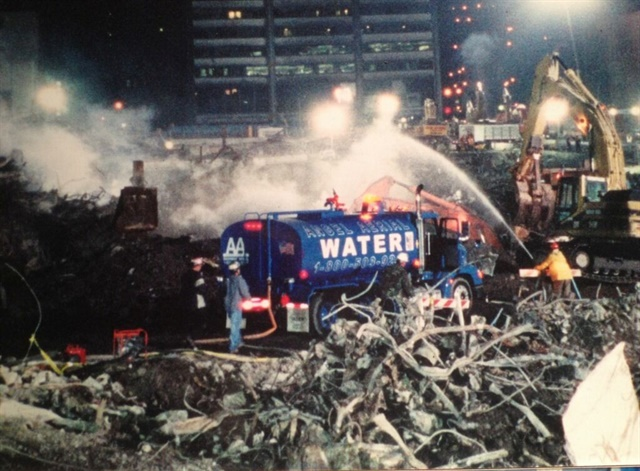Angel Aerial used its water trucks to help with dust suppression after the 9/11 terrorist attacks in New York City. Photo courtesy of Angel Aerial