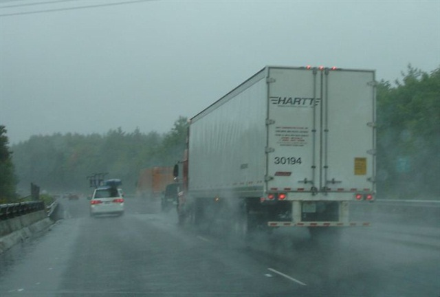 Multi-lane highways have reduced the blinding effects of water spray because motorists don't have to see very far past a truck. TMC's recommended practice suggests using stiff, anti-sail mounts for mud flaps.