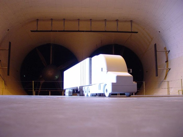 Scale models of trucks are often used in wind tunnels to minimize interference from the tunnel itself.