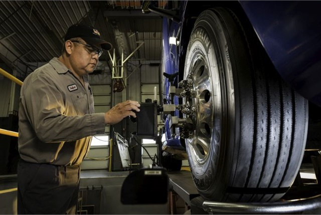 Many fleets dread the downtime. But according to Rush Truck Centers, front-end alignments can be done in as little as 90 minutes. Photo:  Rush Truck Centers