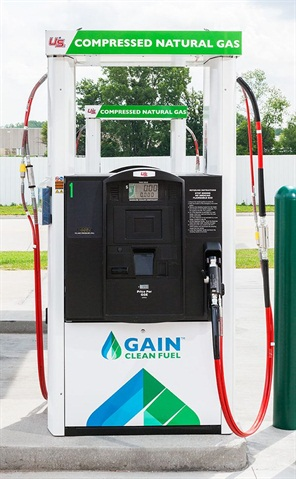 As natural gas goes, CNG remains much more widely available than LNG as a vehicle fuel for heavy-duty trucks. Photo: Gain Clean Fuel