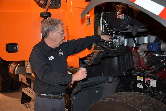 An electric APU being installed by Mack's Modification Center in Allentown will warm engine coolant on Pennsylvania Turnpike's plow trucks. This will keep drivers warm while allowing them to shut down trucks' diesels while awaiting oncoming snow storms.