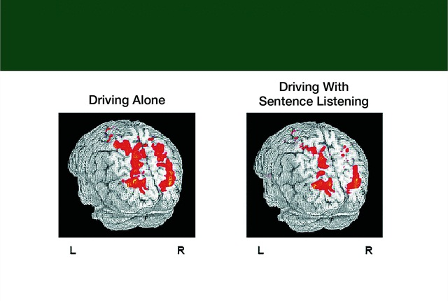 A Carnegie Mellon University study used functional magnetic resonance imaging (fMRI) of the brain to map the effects of driving while speaking on a cell phone. The study found that listening to sentences on cell phones decreased activity by 37 percent in the brain's parietal lobe, which reflected driving problems, such as weaving out of the lane and hitting guardrails. Scientists concluded there is only so much the brain can do at one time while operating a vehicle.