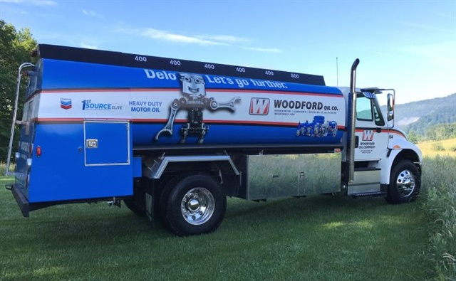 Woodford Oil, serving six states from its base in West Virginia, uses this International bulk oil hauler with six separate compartments to deliver the specific bulk lubricants to meet each fleet's equipment needs. Photo: Woodford Oil