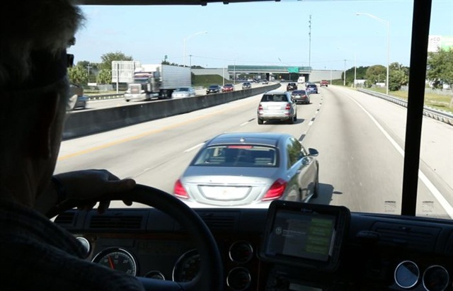 Even in this close, the system will not react to a vehicle that is accelerating away from the truck.
